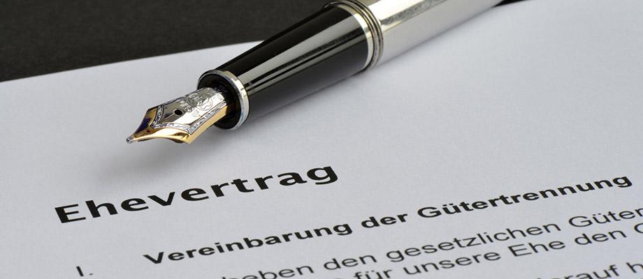 Ehevertrag - Scheidungsfolgenvereinbarung - Anwalt - Familienrecht - Essen
